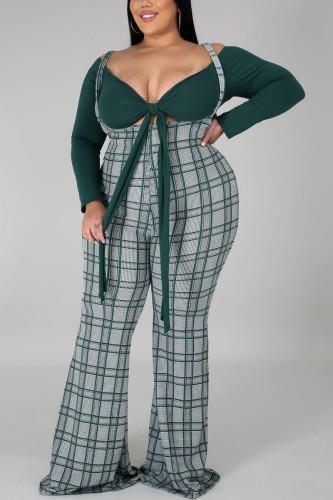 Dark green Fashion Street Adult Polyester Plaid Split Joint V Neck Plus Size