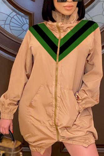 Khaki Fashion Celebrities Adult Polyester Patchwork Solid Split Joint Turtleneck Outerwear