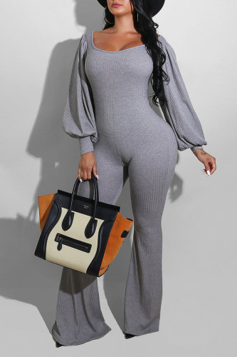 Grey Celebrities Polyester Solid O Neck Straight Jumpsuits