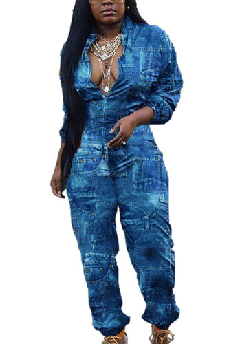 Blue Casual Denim Print Turndown Collar Regular Jumpsuits