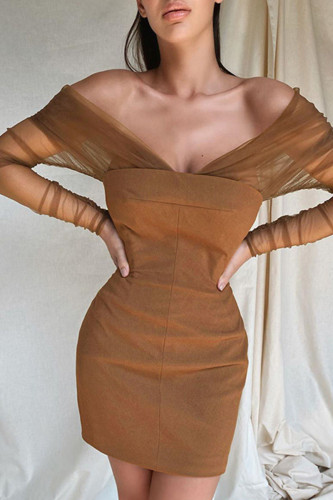 Khaki Street Polyester Solid Split Joint Backless Bateau Neck Long Sleeve Mini Pencil Skirt Dresses