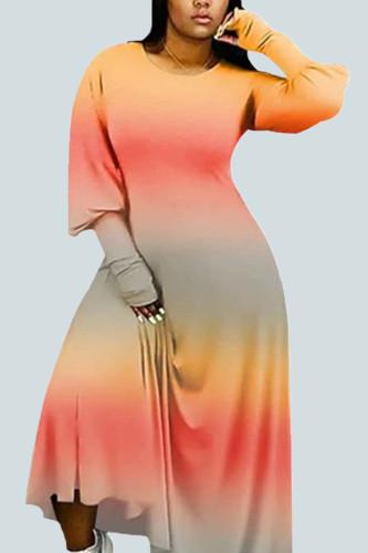 Orange Sexy Milk Fiber Print Tie-dye O Neck Plus Size