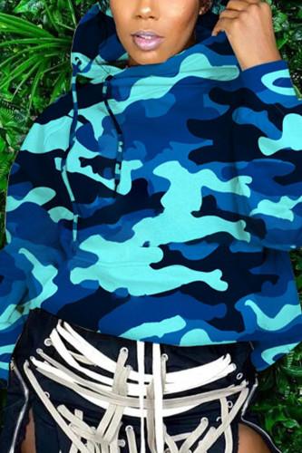 Blue Cute Knitting Print Split Joint Turtleneck TOPS