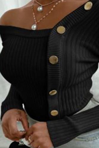 Black Elegant Pit Article Fabrics Solid Oblique Collar TOPS
