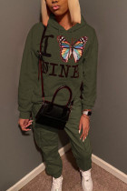 Army Green Street Polyester Print Butterfly Print Hooded Collar Long Sleeve Regular Sleeve Regular Two Pieces