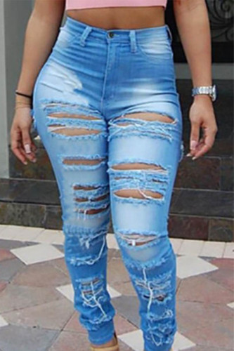 Baby Blue Sexy Solid Ripped Mid Waist Denim
