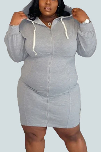 Grey Casual Polyester Solid Split Joint Hooded Collar Plus Size