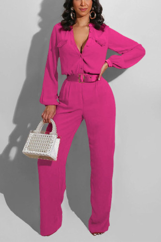 rose red Casual Polyester Solid Pocket V Neck Jumpsuits