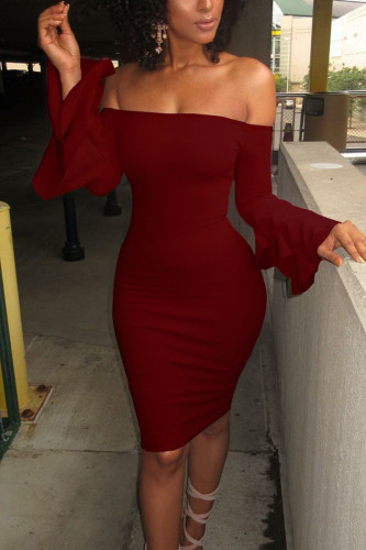 Wine Red Sexy Polyester Solid Split Joint Flounce Bateau Neck Long Sleeve Knee Length Pencil Skirt Dresses