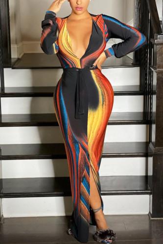 colour Fashion Casual Adult Milk Fiber Print Split Joint V Neck Long Sleeve Floor Length Printed Dress Dresses