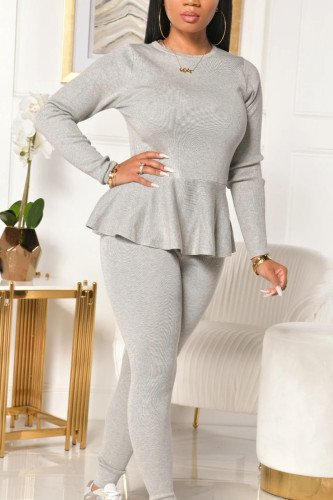 Casual Polyester Solid Bandage Make Old Flounce O Neck Long Sleeve Regular Sleeve Regular Two Pieces