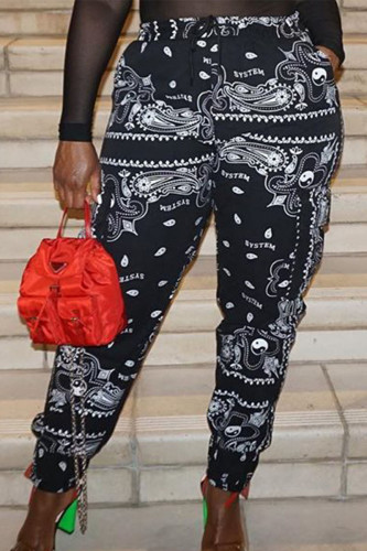 Black Casual Polyester Print Loose BOTTOMS