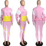 Pink Active Casual Striped Patchwork Print Solid Zippered Two Piece Suits pencil Long Sleeve Two Pieces