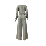 Fashion Daily Adult Polyester Solid Draw String One Shoulder Long Sleeve One Shoulder Regular Two Pieces