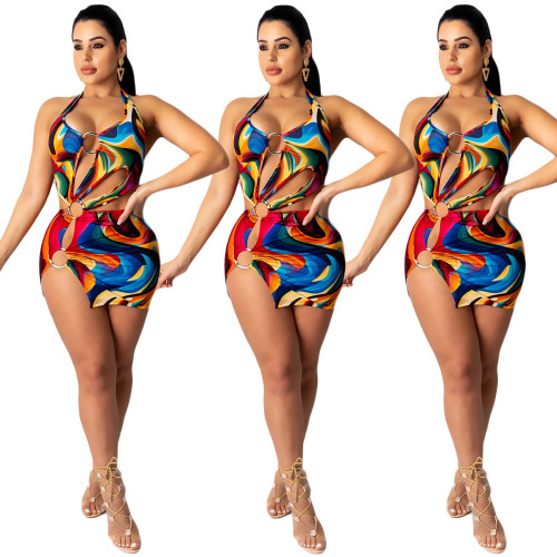 Sexy summer fashion women's nightwear with colorful print