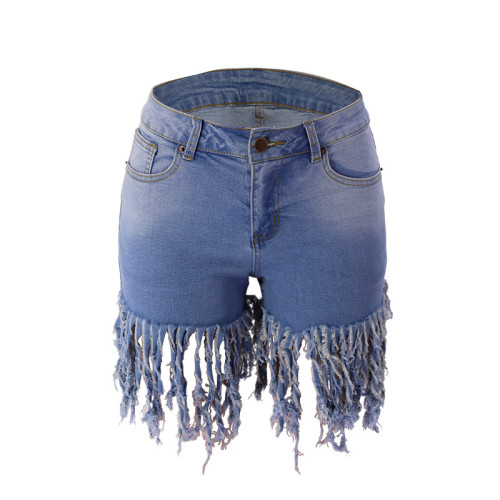 European and American fashion jeans fringed shorts