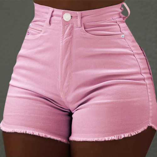 Hot Pants Solid color slim pocket shorts Fashion ruffled jeans