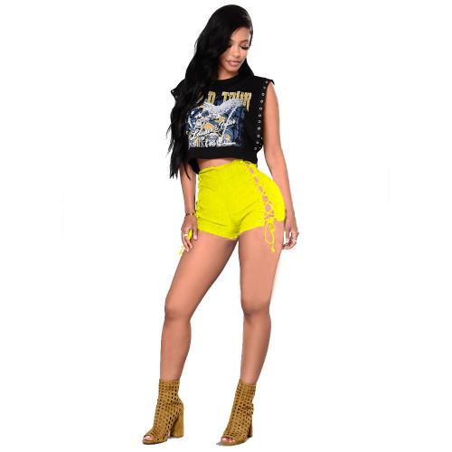 Women's jeans midwaist corn-bandage short shorts