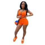 Two piece zipper sets for corsets and shorts