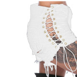 Women's Ripped Side Corn Bandage Denm Shorts Fashion Women's Color Cloth Hot Pants