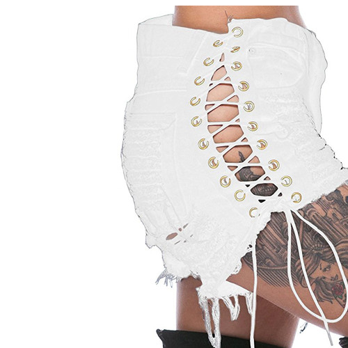 Women's Ripped Side Corn Bandage Denm Shorts Fashion Women's Color Cloth Hot Pants