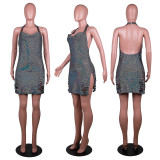 2021 Summer Sexy Glittering Bodycon Sequins Mini Dress See Through Dress With Diamonds For Women Clubwear Date Night Party
