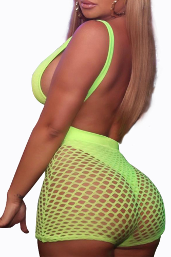 Fluorescent Green Sexy Solid Hollowed Out Split Joint Swimwears