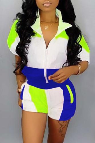 Blue Casual Sportswear Patchwork Basic Zipper Collar Half Sleeve Two Pieces