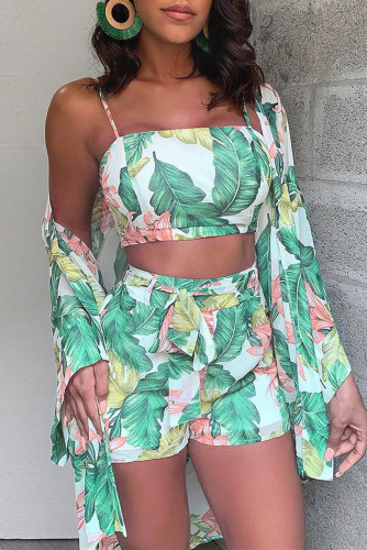 Green Fashion Sexy Print Basic Square Collar Long Sleeve Two Pieces
