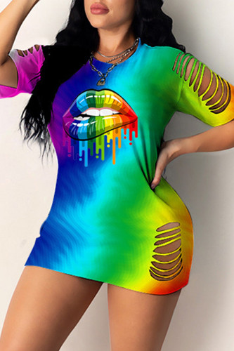 Turquoise Fashion Casual Lips Printed Hollowed Out O Neck Short Sleeve Dress