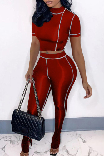 Red Fashion Casual Solid Split Joint Slit Half A Turtleneck Short Sleeve Two Pieces