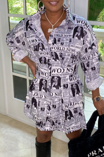 Black Street Print Split Joint Turndown Collar Shirt Dress Dresses