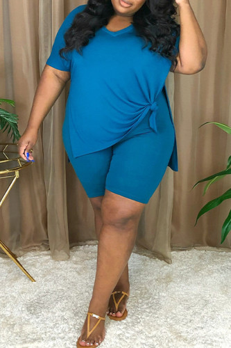 Blue Fashion Casual Solid Slit V Neck Plus Size Two Pieces