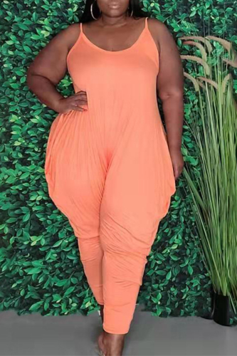 Sky Blue Casual Solid Split Joint Spaghetti Strap Plus Size Jumpsuits