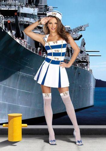 Sexy Sea Costumes includes a blue and white mini dress