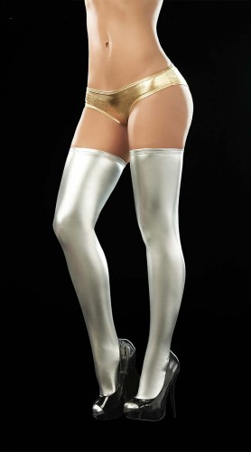 Sexy Lingerie Women silver PVC Faux Leather Stockings