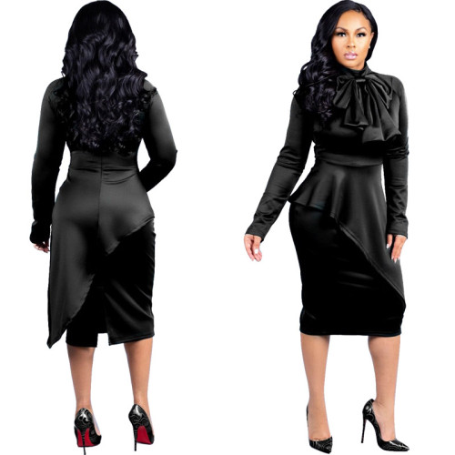 Bow Neck Long Sleeve Bodycon Peplum Midi Dress