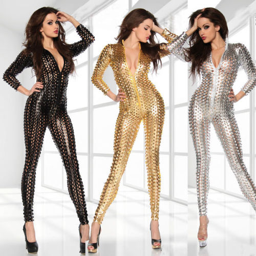 Hot sale Sexy  V Neck Catsuit with Mesh Jumpsuit