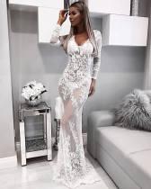 See Through White Lace Deep V Mermaid Dress