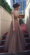 Glitter Bodice V Back A Line Mesh Evening Dress