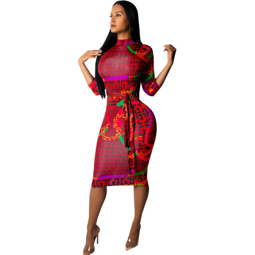 Allover Print Fitted Midi Dress with Mock Neck and 3/4 Sleeve