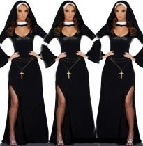 Sexy Black Nun Missionary Costume Halloween Adult Cosplay Dress