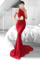 Red Backless Lace Halter Mermaid Evening Dress