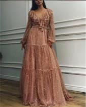 Shiny Ruffle V Neckline Puff Sleeve Evening Dress