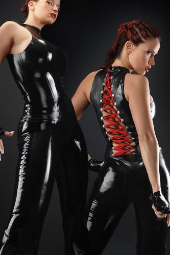 Back Tie  Shinning Leather Bodysuit