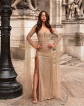 Extra Long Sleeve Sequin Mesh Slit Evening Dress