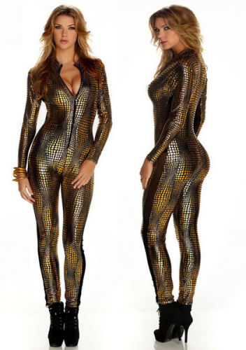 Golden Sexy  V Neck Leather Catsuit  Jumpsuit