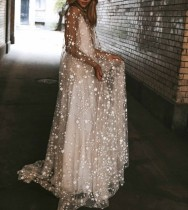 Sequin Star V Back Mesh Long Prom Dress