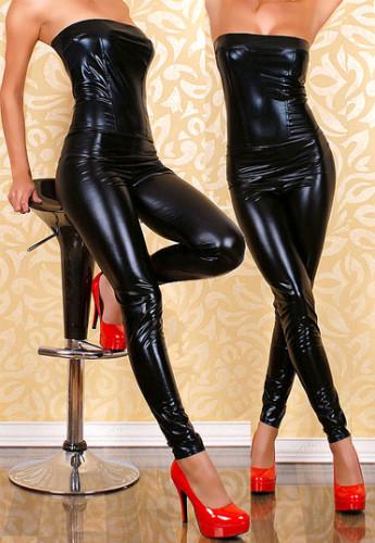 Seductive  Black Off Shoulder Women Leather Bodysuit
