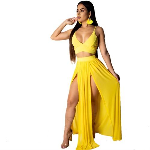 Two-Piece Cami Crop Top and Slit Long Dress Set